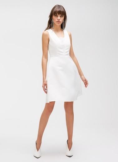 People By Fabrika Payet Detaylı Saten Elbise Beyaz